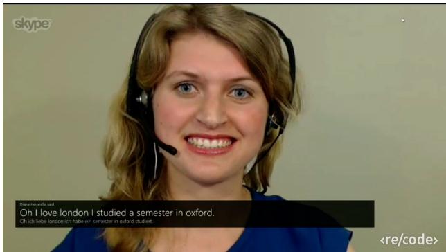Parte de la conversación usando Skype Traslator