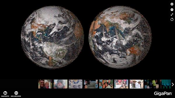 Selfie de la Tierra creado por un mosaico de miles de fotografías de todo el mundo